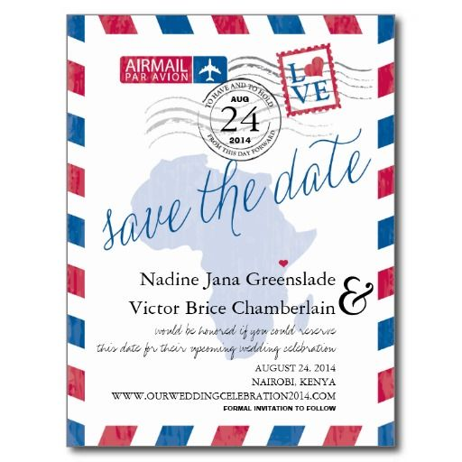 Kenya South Africa Airmail Wedding Save The Date Announcement Postcard Zazzle Com Airmail Wedding Wedding Saving Wedding Save The Dates