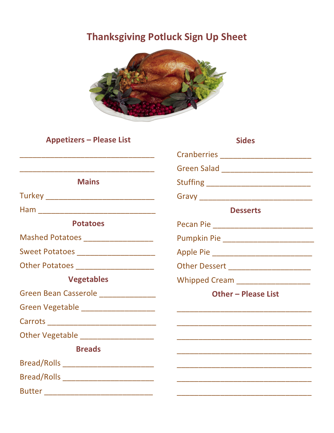 Thanksgiving Potluck Sign Up Printable Thanksgiving Pinterest
