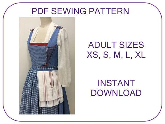 Belle Blue Village Dress ADULT SIZES PDF sewing pattern Provincial ...