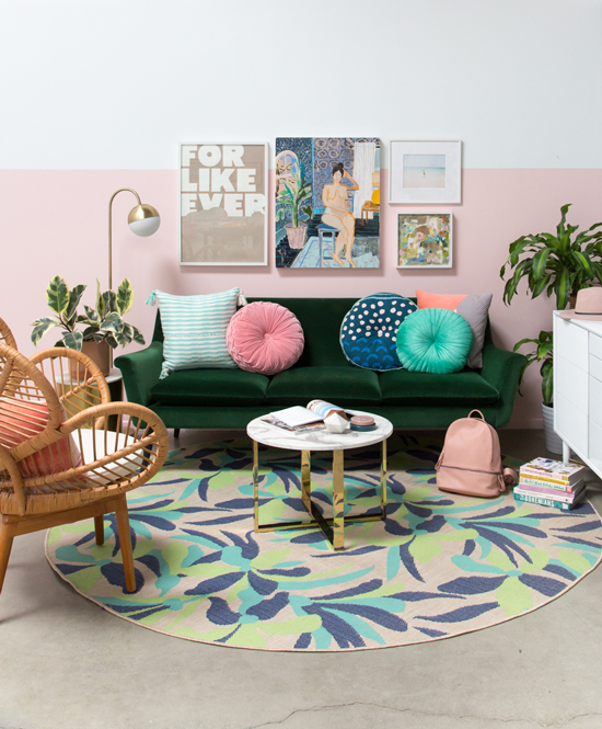 From Painting To Room Oh Joy Pink Living Room Living Room Green Apartment Decor