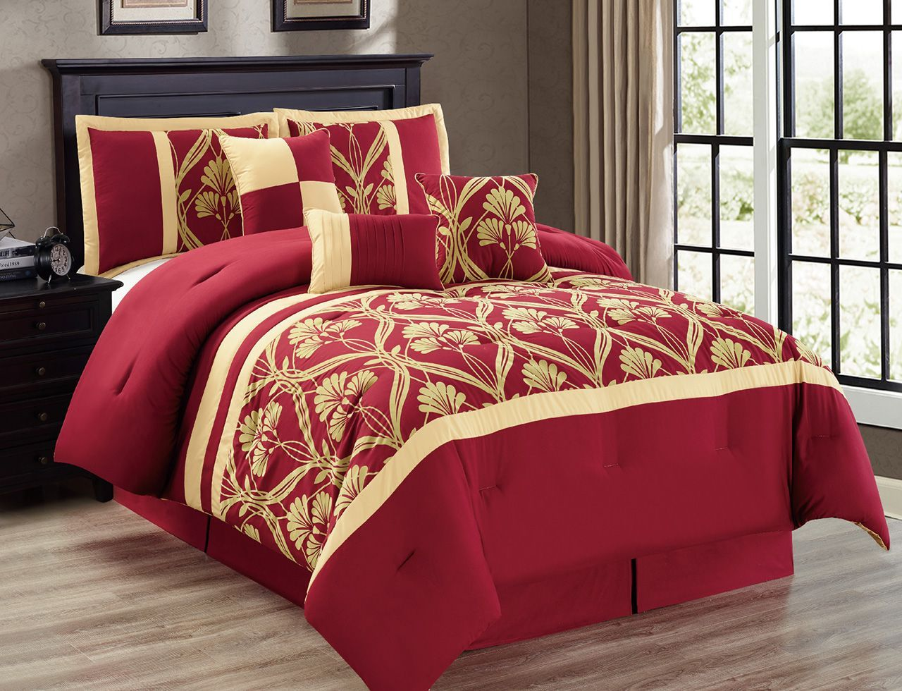 Beautiful 7 Piece Perris Burgundy/Gold Comforter Set