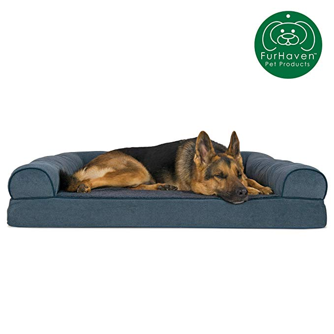 Amazonsmile Furhaven Pet Dog Bed Orthopedic Faux Fleece Chenille Soft Woven Traditional Sofa Style Liv Orthopedic Dog Bed Dog Pet Beds Orthopedic Pet Bed