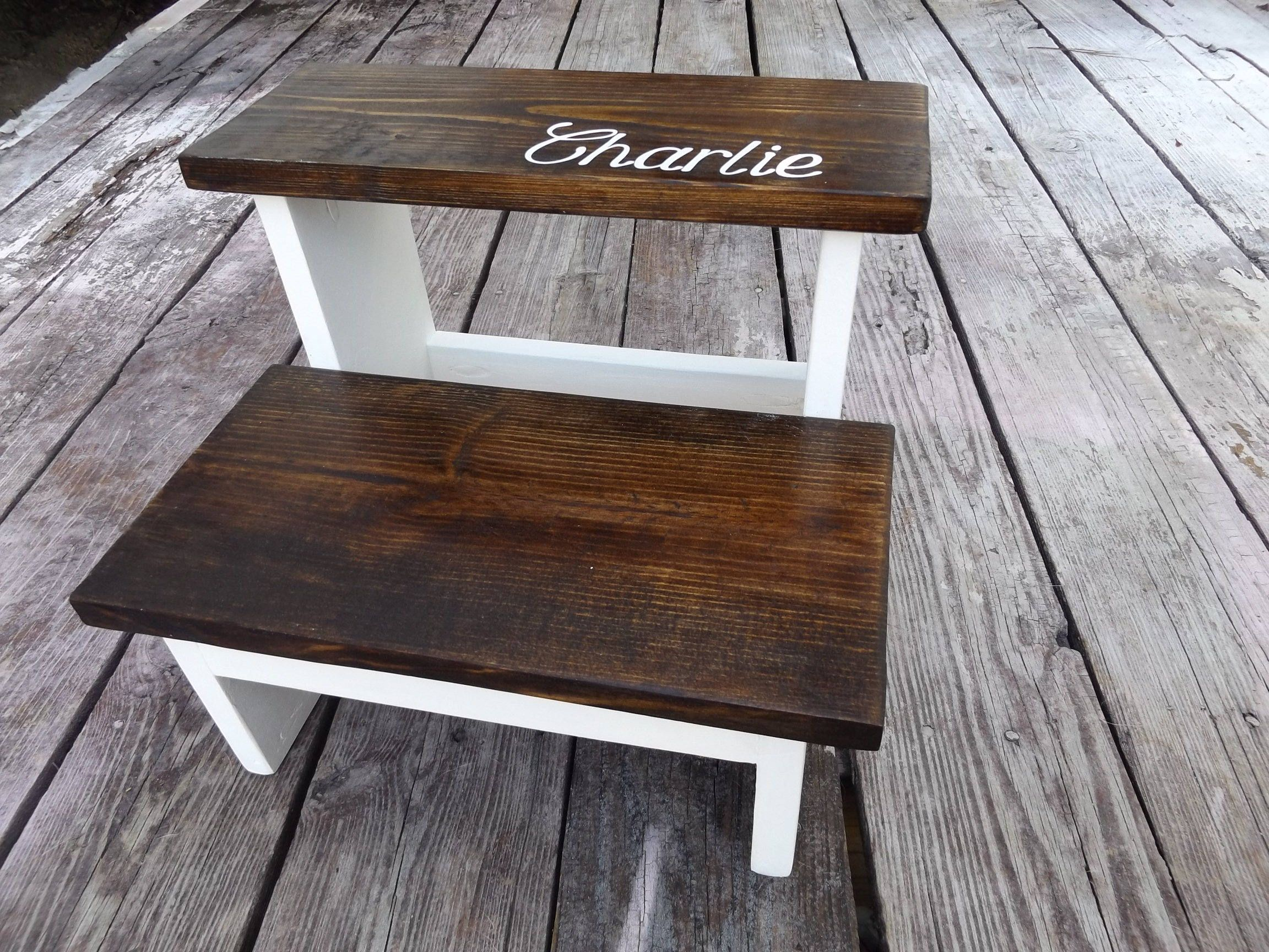 2 Step Wooden Stool Kids Toddler Walnut Stain With White Gray Pink Aqua Mint Bottom Paint