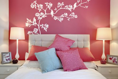 pink and white bedroom; flower wall decal