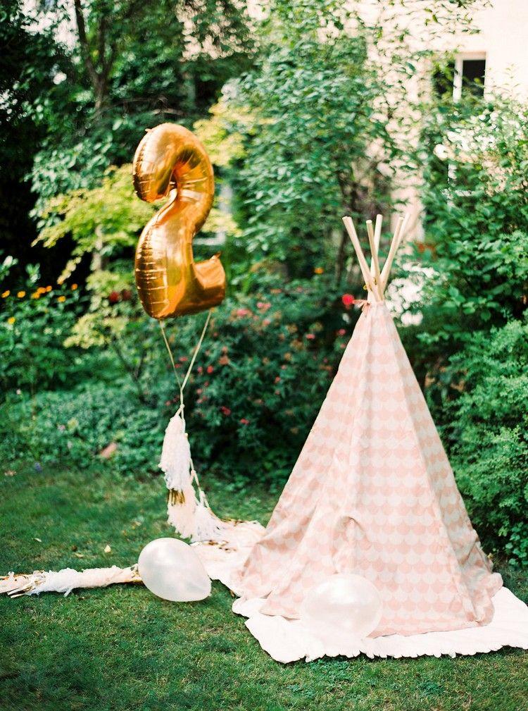Kindergeburtstag Deko Outdoor Party Luftballon Ziffer Quasten Tipi