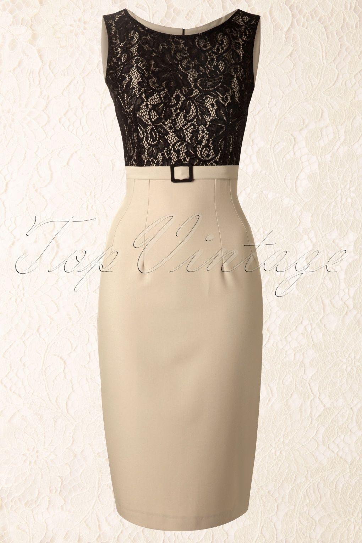 Lace dress 50s  Daisy Dapper  s Vicky Pencil Dress in Beige  fashion