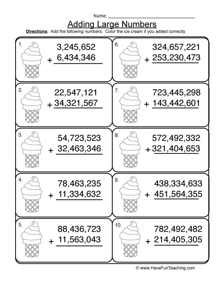 adding millions no regrouping worksheet 2 Math place