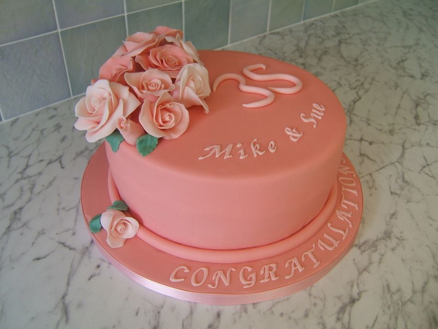 Coral 35th Wedding Anniversary Gifts: 35Th Wedding Anniversary Cake On Cake Central