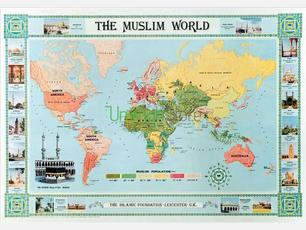 The Muslim World Map (English) | Islamic Studies -- Books & Other ...