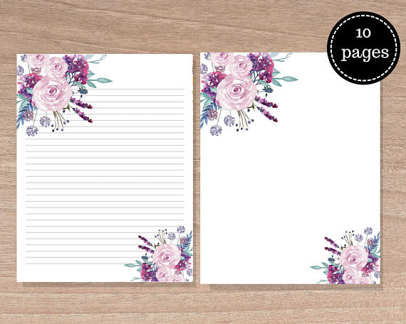 Floral Stationary, set of 10, floral Writing Paper, Printables