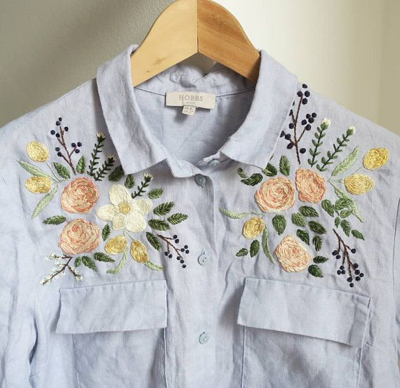 Floral Embroidered Blue Shirt Linen Shirt Hand Embroidery ...