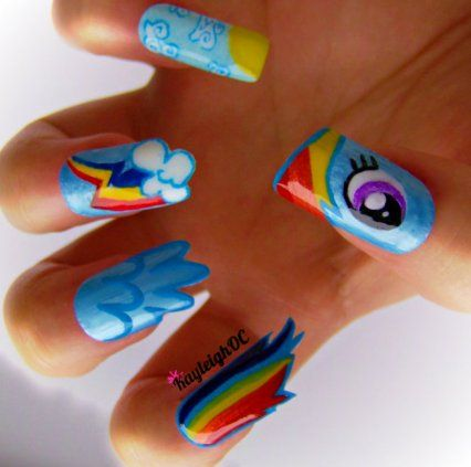 Outrageous Pop Culture Nail Art Is Cosplay For Your Fingers The Mary Sue Plur Pinterest Rainbow Dash And Rainbows