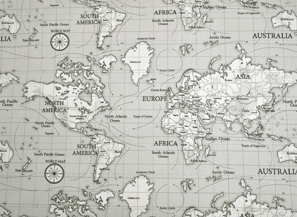 Fryetts atlas world map 100 cotton curtain upholstery craft fryetts atlas world map 100 cotton curtain upholstery craft fabric grey sciox Gallery