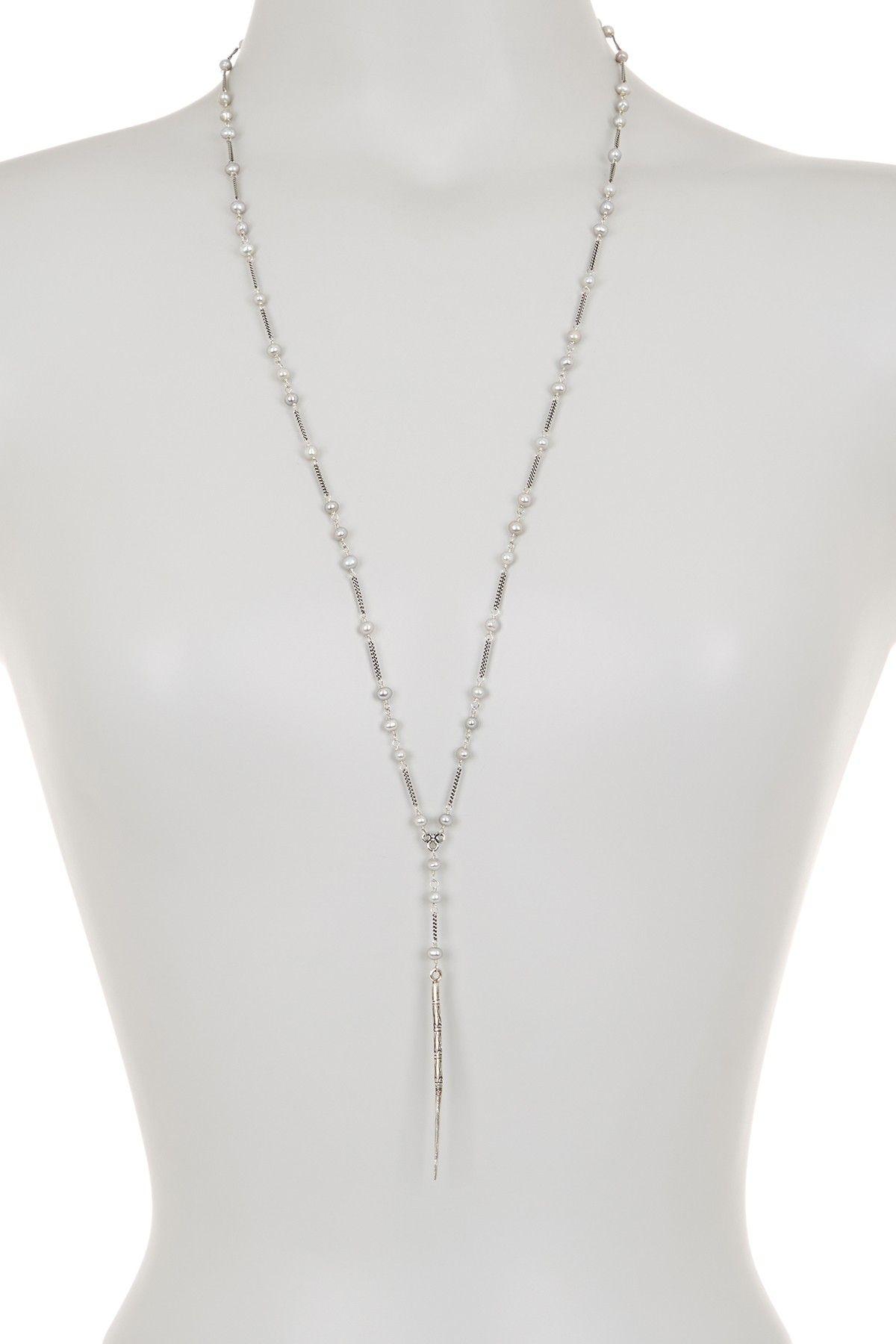 Sterling Silver Freshwater Pearl Spike Necklace by Chan Luu on @HauteLook