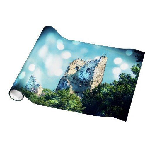 Sparkling Blue Fairytale Castle Ruin Gift Wrap Paper from Zazzle.com