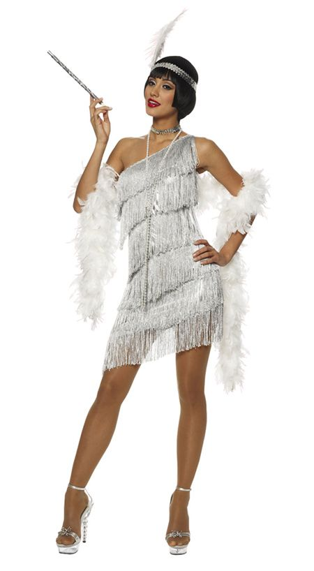 Roaring Twenties Dresses 1920s Roaring 20s Adult Womens Silver Dazzling Flapper Costume Dress