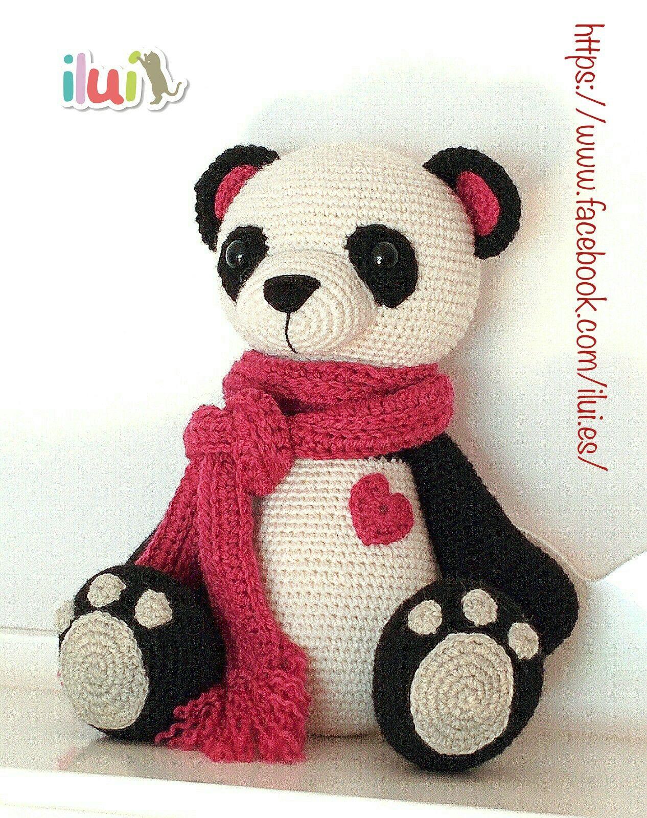 www.ilui.es Oso panda tejido con hilo mezcla de alpaca y lana ...