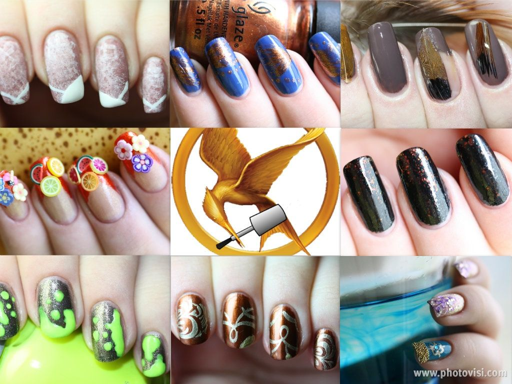 Hunger Games nails - Districts 8 - 13 + Cinna + Effie nails #hungergames