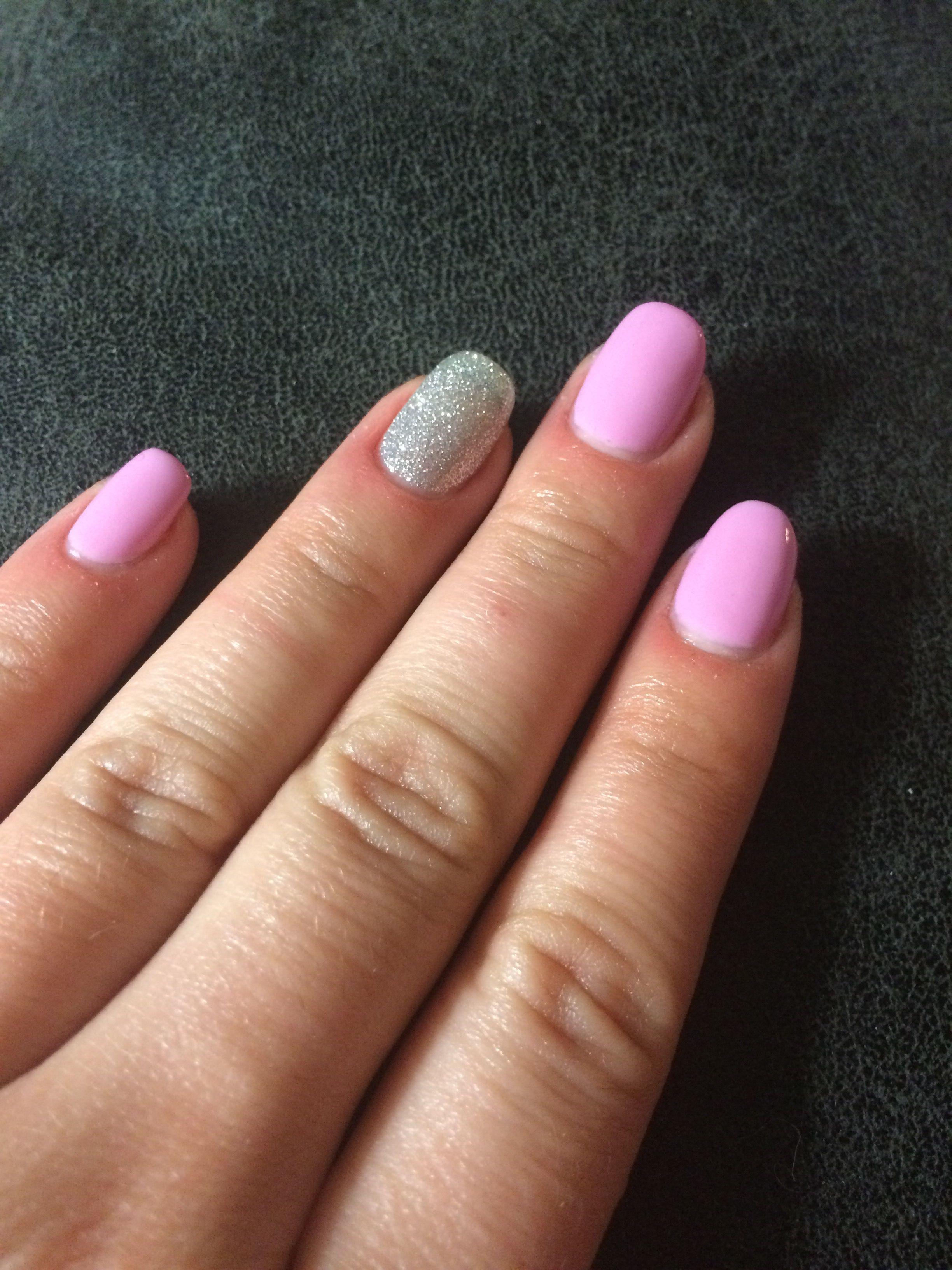 Simple Pink And Silver Gelish Summer Work Nails Nails My Nails