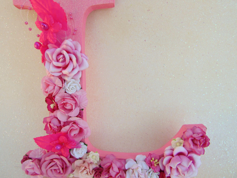 Nursery Wall Decor Pink Flower Letter L Floral Name Letter