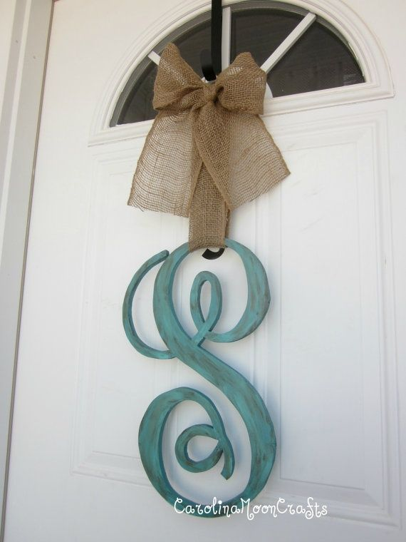 Big Wood Letter Paint And A Ribbon Great Way To Dress Up A Front Door Lettering Home Crafts
