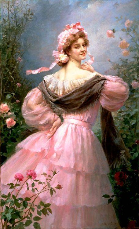 Elegant Woman in a Rose Garden - Marie Felix Hippolyte-Lucas