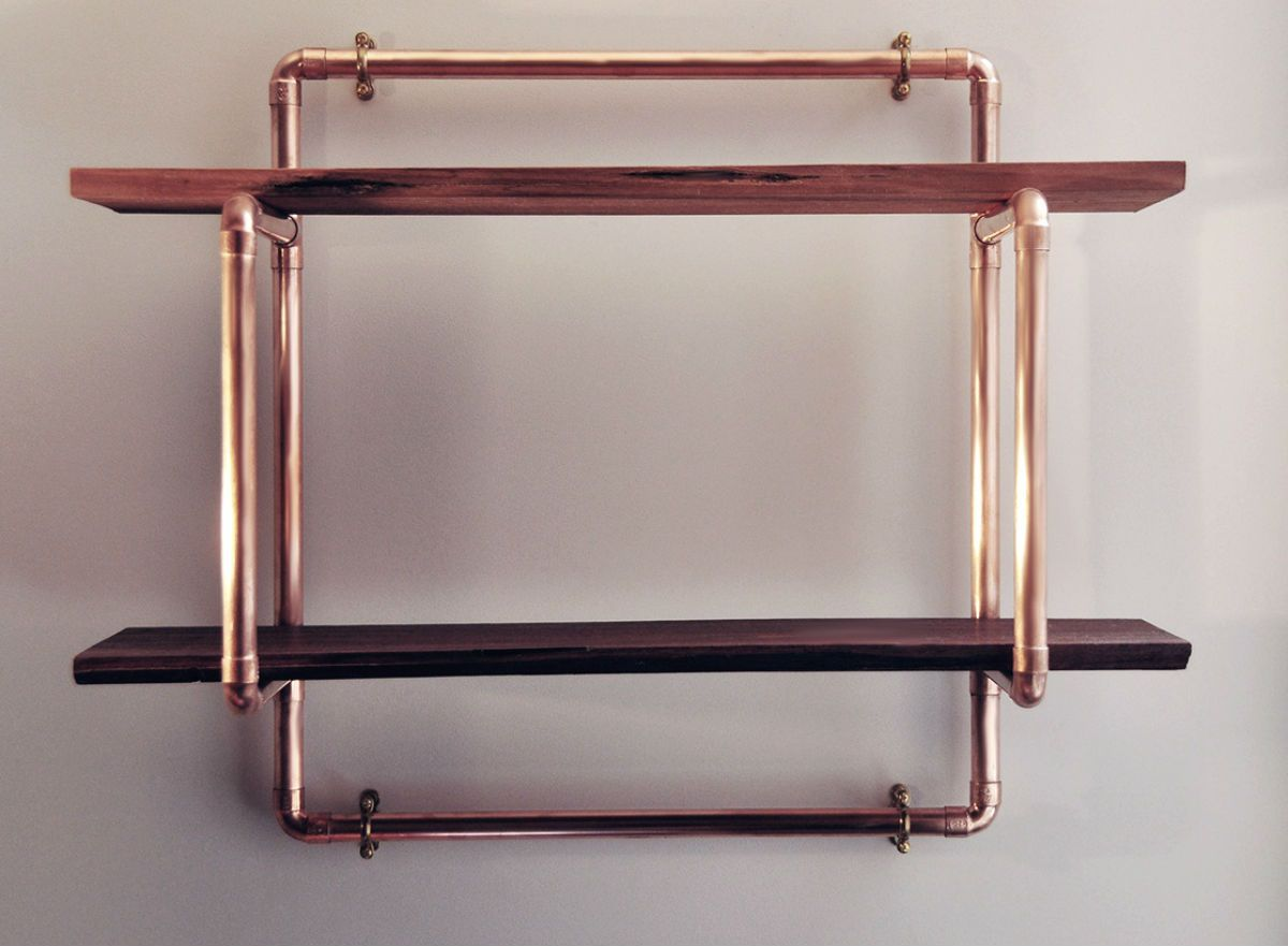 Small 2 Shelf 22mm Copper Pipe Unit With Reclaimed Hardwood Shelves