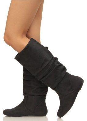 0b37c36ff9fd9 Amazon.com: Black Slouchy Faux Suede Knee HIgh Flats Boots SODA ...