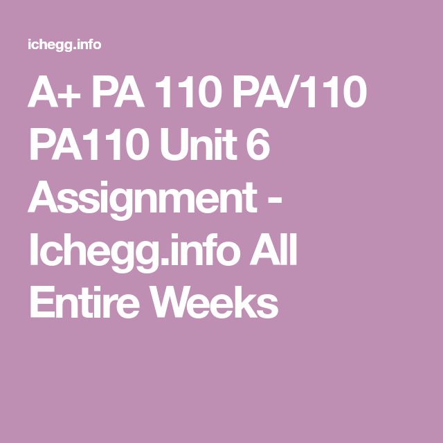 Pa 110 Pa 110 Pa110 Unit 6 Assignment The Unit Essay Questions Abs