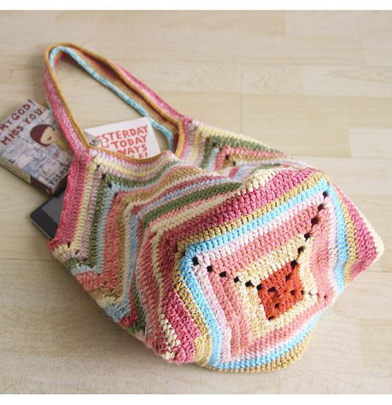 Photo of Crochet Beach Bag, Crochet Multicolor Market Bag, Crochet Rainbow Bag, Boho …