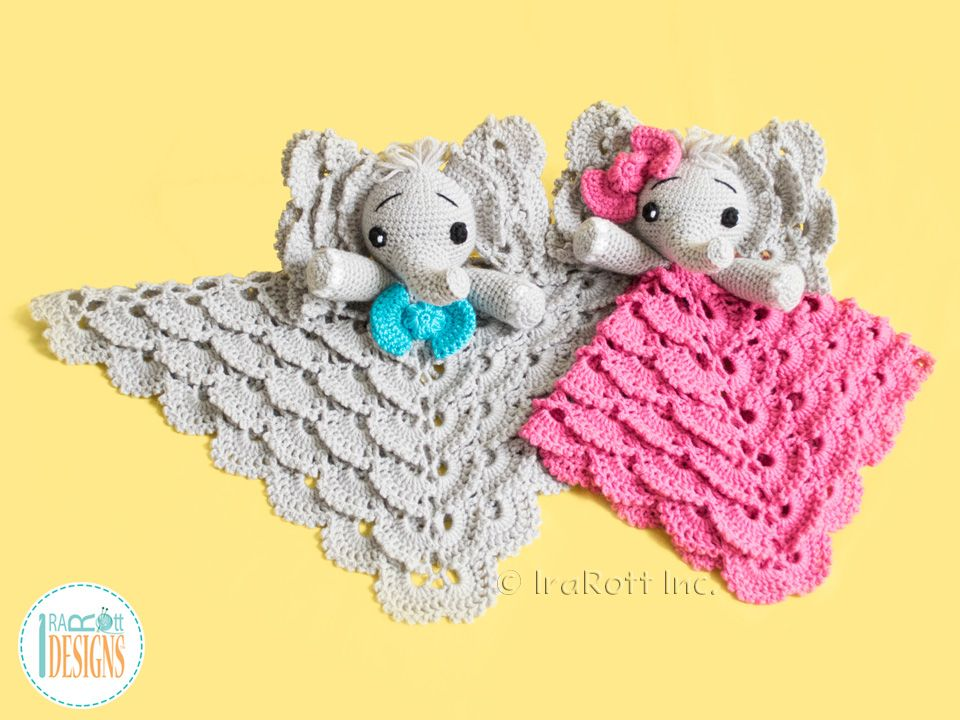 Crochet Pattern PDF for making an adorable Elephant Lovey Security ...