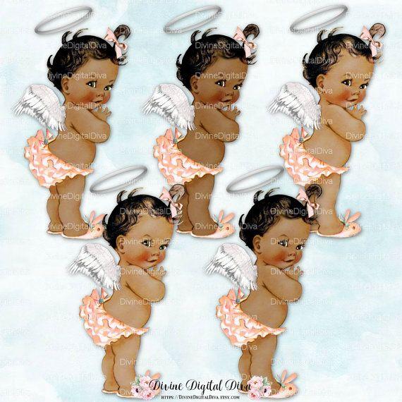 Ruffle Pants Coral Mint Aqua Sneakers Pearls Clipart Instant Download Baby Girl 3 Skin Tones