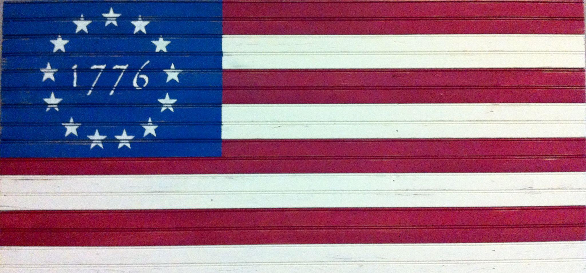 Betsy Ross Flag using car siding