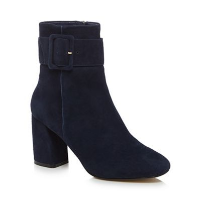 J by Jasper Conran, suede high block heel boots with stylish buckle on the  ankle