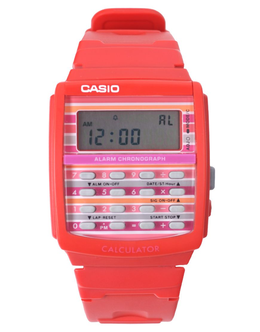 Casio ldf-40-4bdr women's poptone red calculator watch: amazon. Co.
