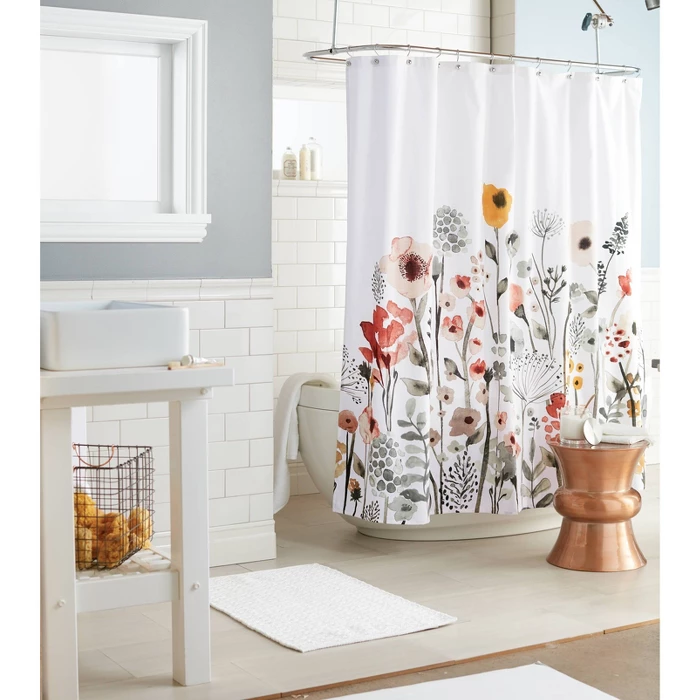 Shower Curtain Floral Wave Threshold Guest Bathroom Decor