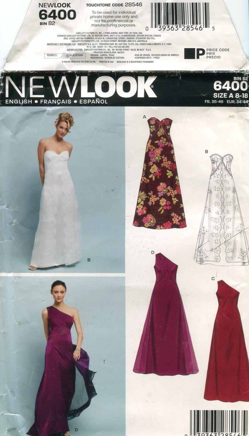 New Look 6400 One Shoulder Strapless Dress Overskirt Formal OOP ...