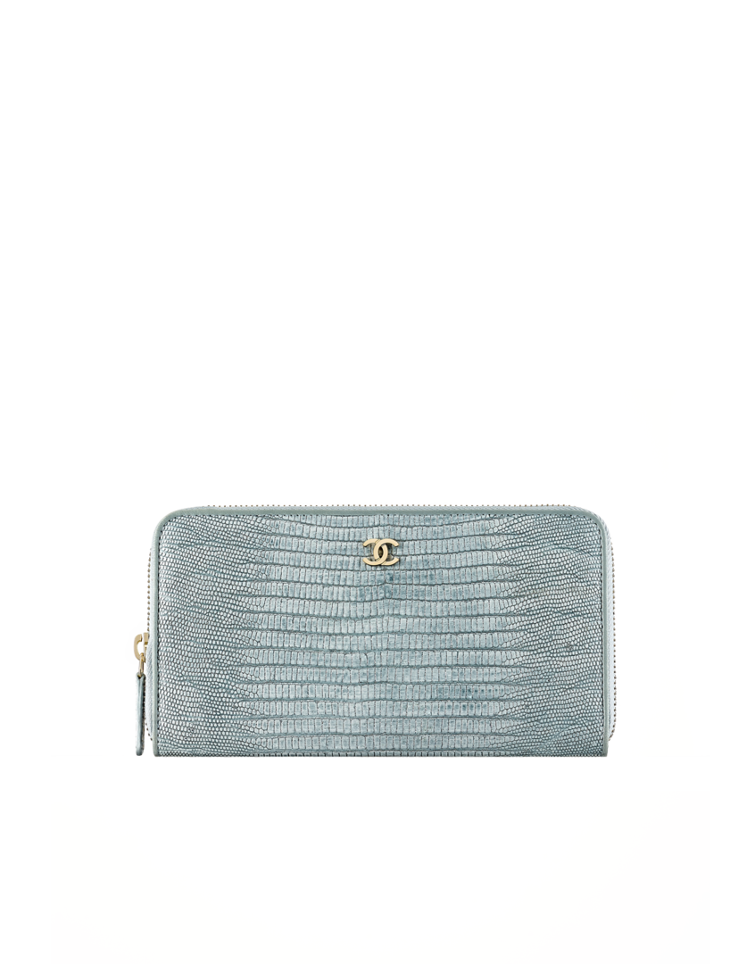 Portefeuille zippé, lézard   métal doré clair-gris clair - CHANEL ... 29db4a7a93e