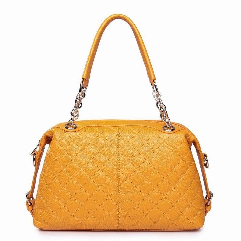 Bolsa Para Dama , Color Amarilla , De Piel . 34x19x11 - $ 865.00 en MercadoLibre