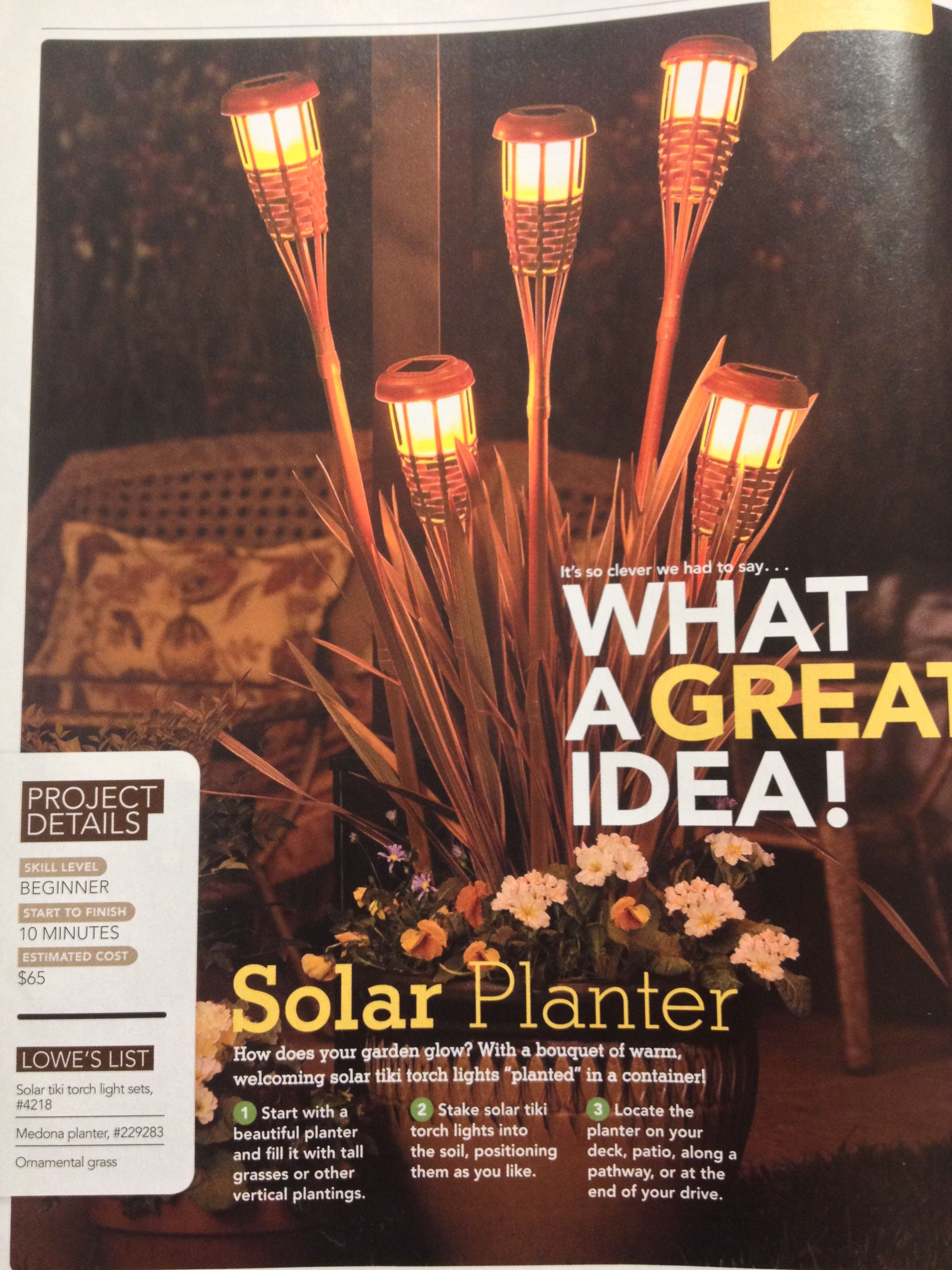 Solar planter idea from Lowes creative ideas mag spring 2011 ...