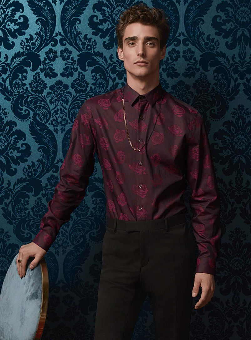 Burgundy Flower Shirt Semi Tailored Fit Must Try Shirts Mens