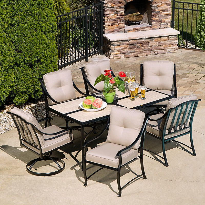 La Z Boy Outdoor Demer 7pc Emerson 7 Pc Dining Set Oatmeal Patio Patio Dining Set Stylish Patio