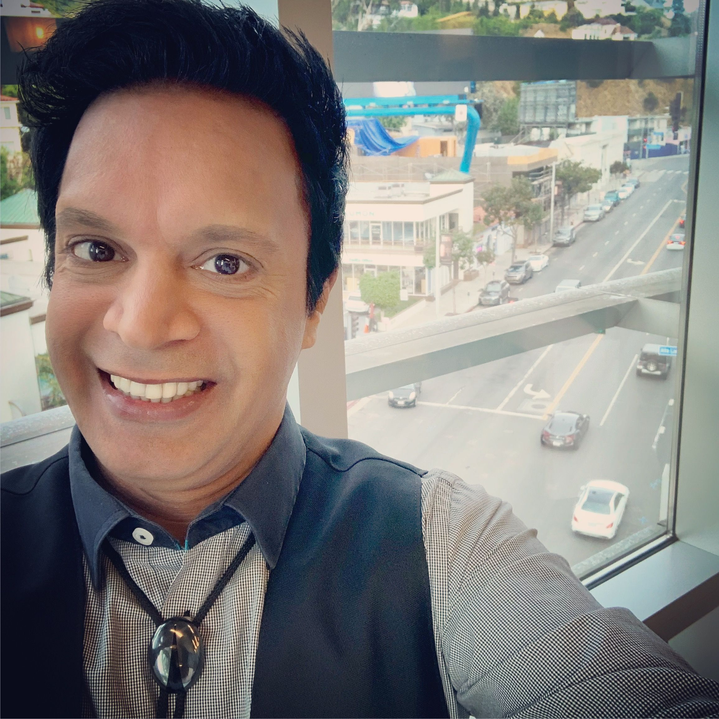 Shooting a selftape audition above Sunset Boulevard in