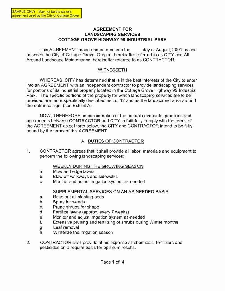 Commercial Landscape Maintenance Contract Template Elegant