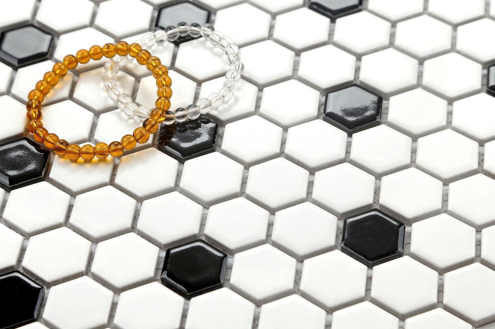 Details zu 1qm Retro Hexagon Keramik Mosaik Fliesen Matte Weiß ...