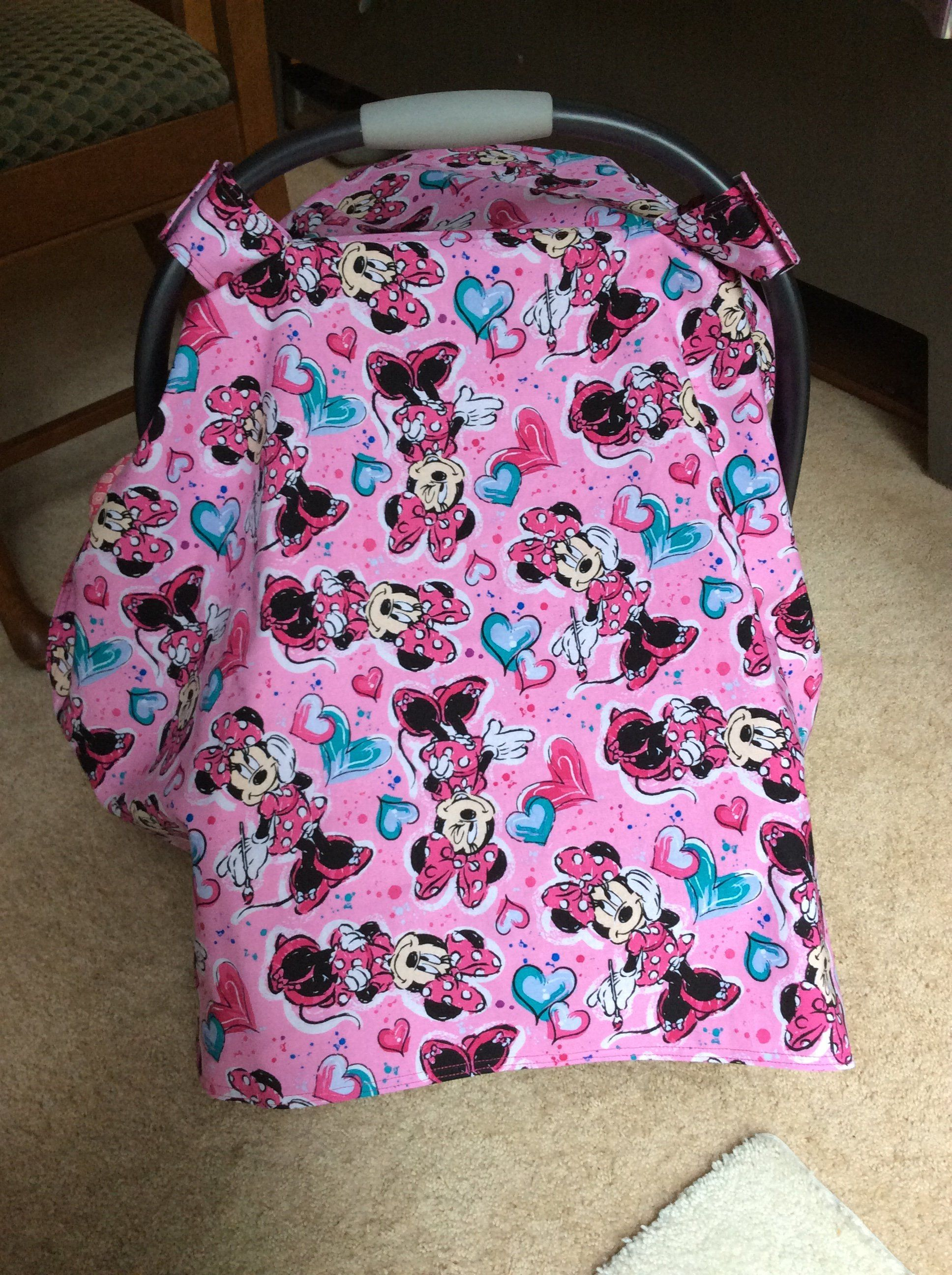 Minnie Mouse Infant Car Seat Canopy Baby Cover Girl Disney Gift Item New Mom Shower By OliversNursery