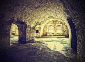 Vintage picture of dungeon, cellar in retro style. - stock photo