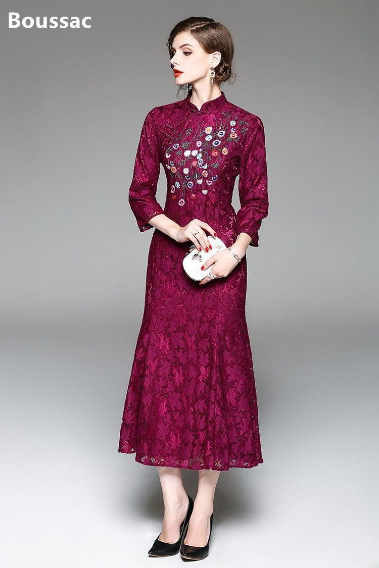 b2b737601 Free shipping Summer original Chinese style Embroidered big size Improved  Cheongsam slim long lace fishtail dress for women #dress #sexy #collection  #girl ...