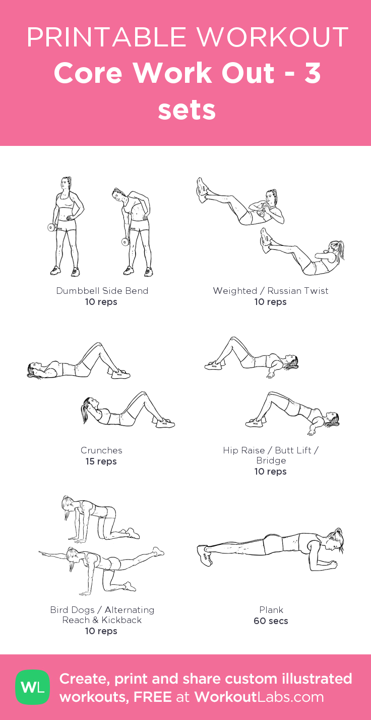 Core Work Out - 3 sets: my visual workout created at WorkoutLabs.com • Check out my other work outs on my Fitness & Fashion board! #coreworkouts