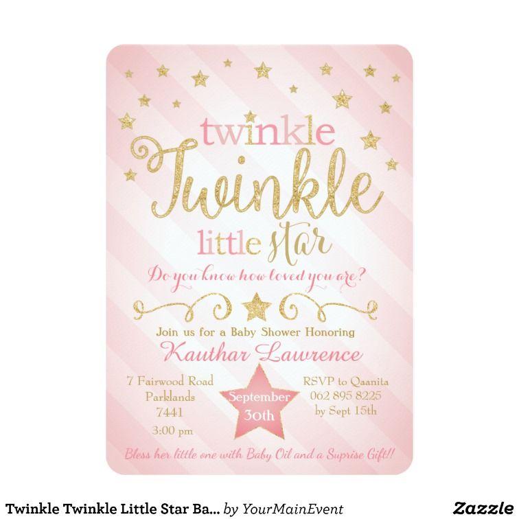 Twinkle Twinkle Little Star Baby Shower Invitation In 2019